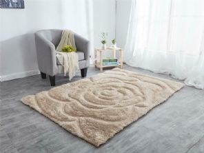 NEW 3D ROSE HAND CARVED APPROX 8X5FT 160X230CM GREAT QUALITY 3D RUGS BEIGE